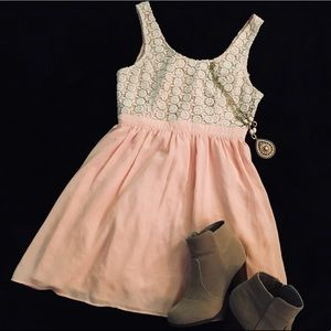Pink and White Lace Top Sundress